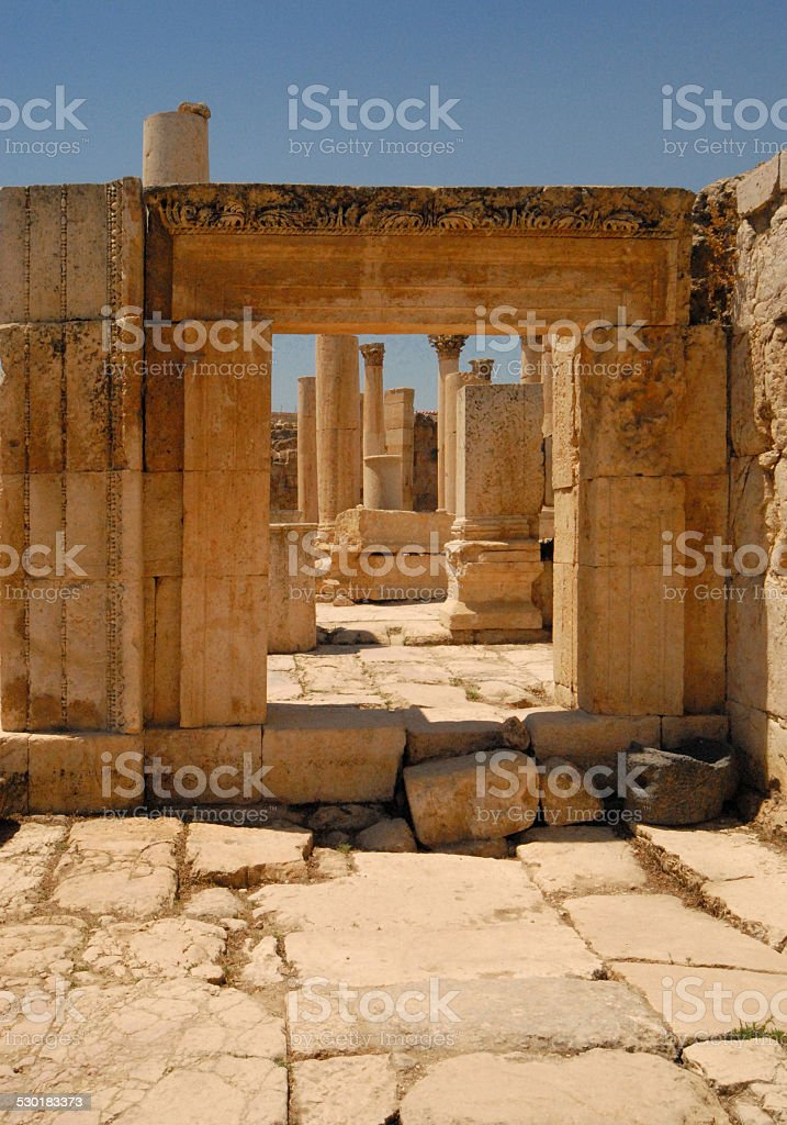 Jerash, Jordan: the Macellum stock photo