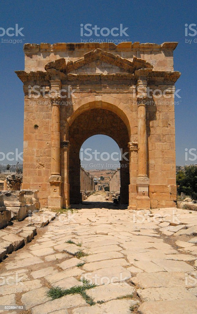 Jerash, Jordan: the North Tetrapylon stock photo