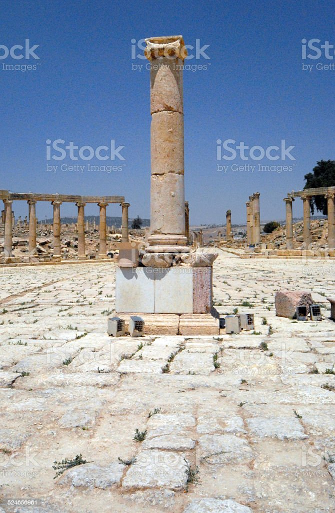 Jerash, Jordan: the Roman Forum stock photo