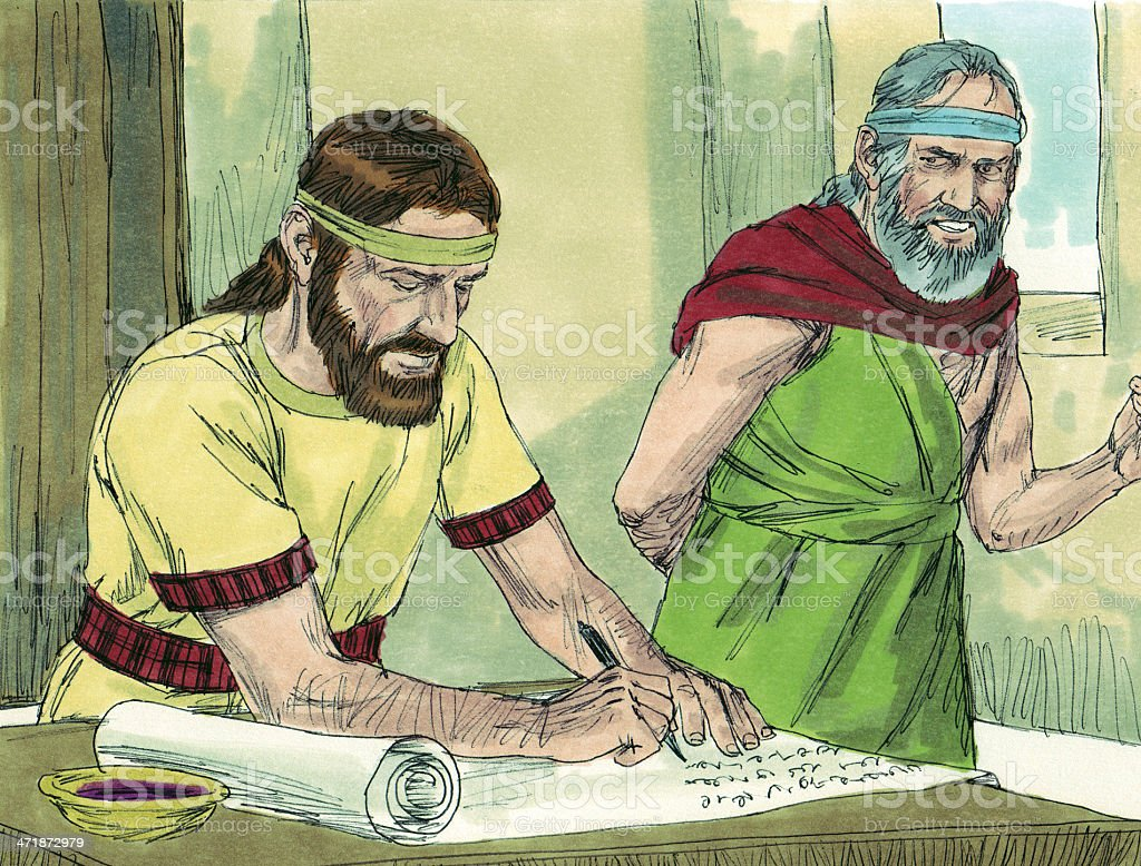 Jeremiah and Baruch Write God's Word on Scroll royalty-free stock photo