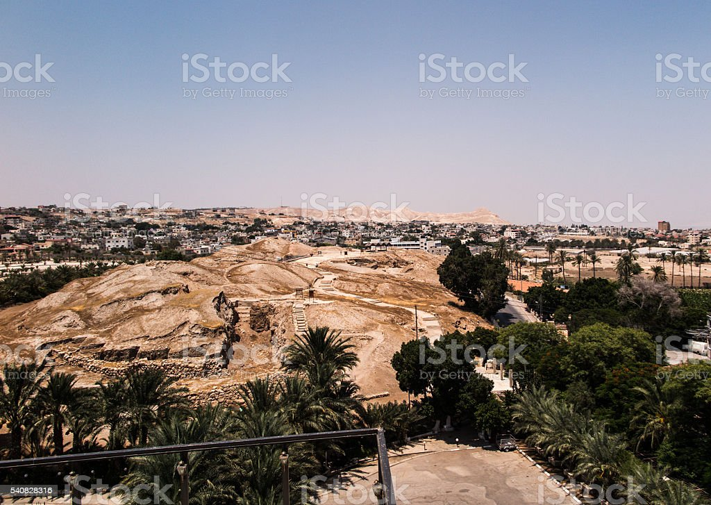 Jericho is a Palestinian city located near the Jordan River stock photo