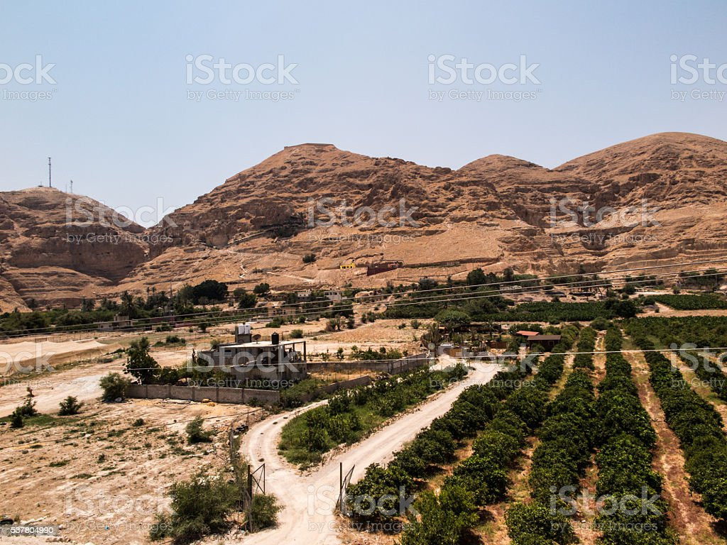 Jericho is a Palestinian,  the oldest city of the world stock photo