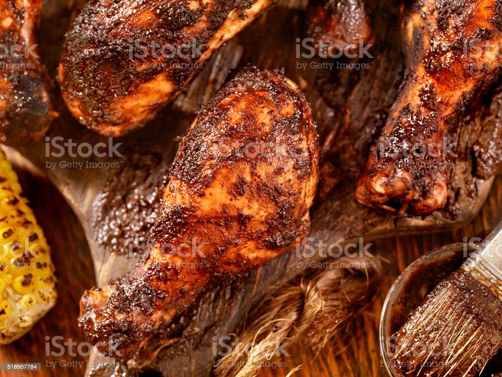 Jerk Chicken with Corn stock photo