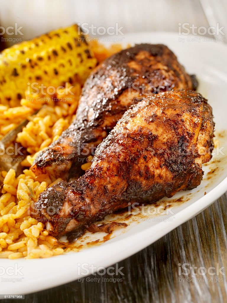 Jerk Chicken with Rice and Corn stock photo