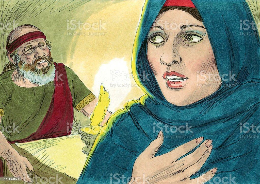 Jeroboam's Wife and Prophet stock photo