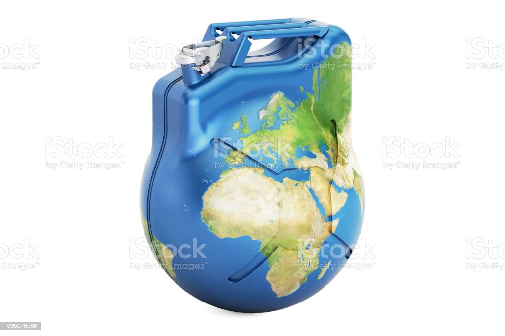 Jerrycan Earth globe, 3D rendering isolated on white background stock photo