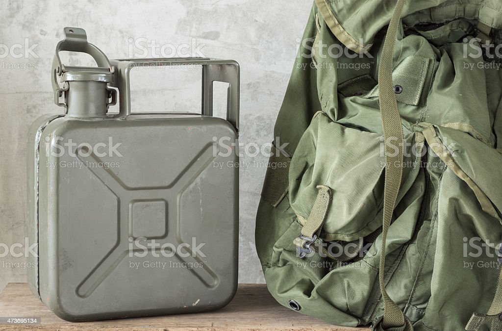 jerrycan with backpack stock photo