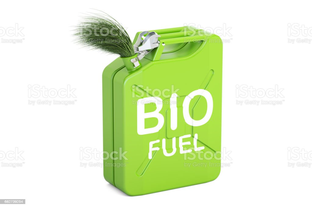 jerrycan with bio fuel, 3D rendering isolated on white background stock photo