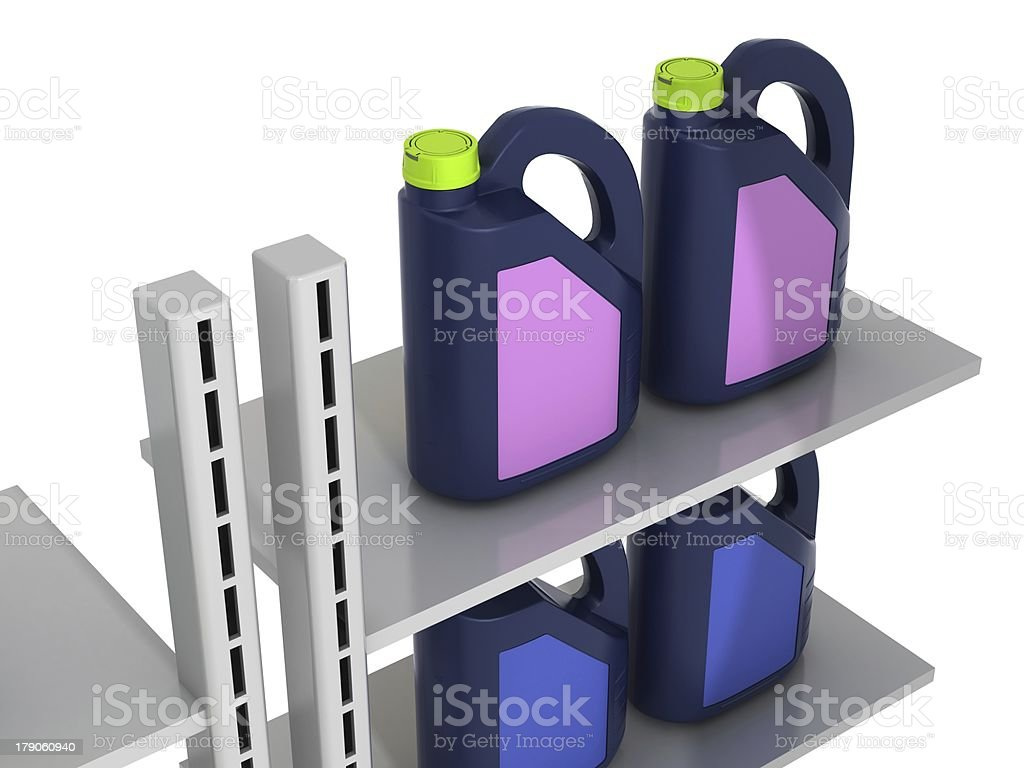 Jerrycans with car engine oil - isolated royalty-free stock photo