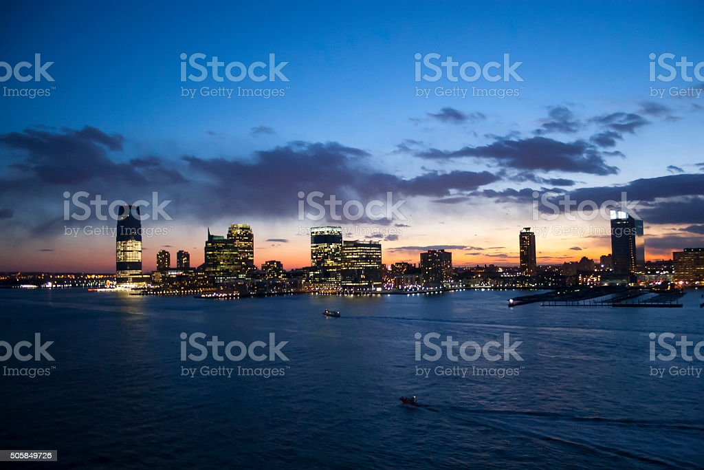 Jersey City at sunset stock photo