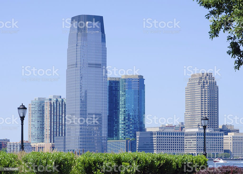 Jersey City skyline as seen from Lower Manhattan royalty-free stock photo