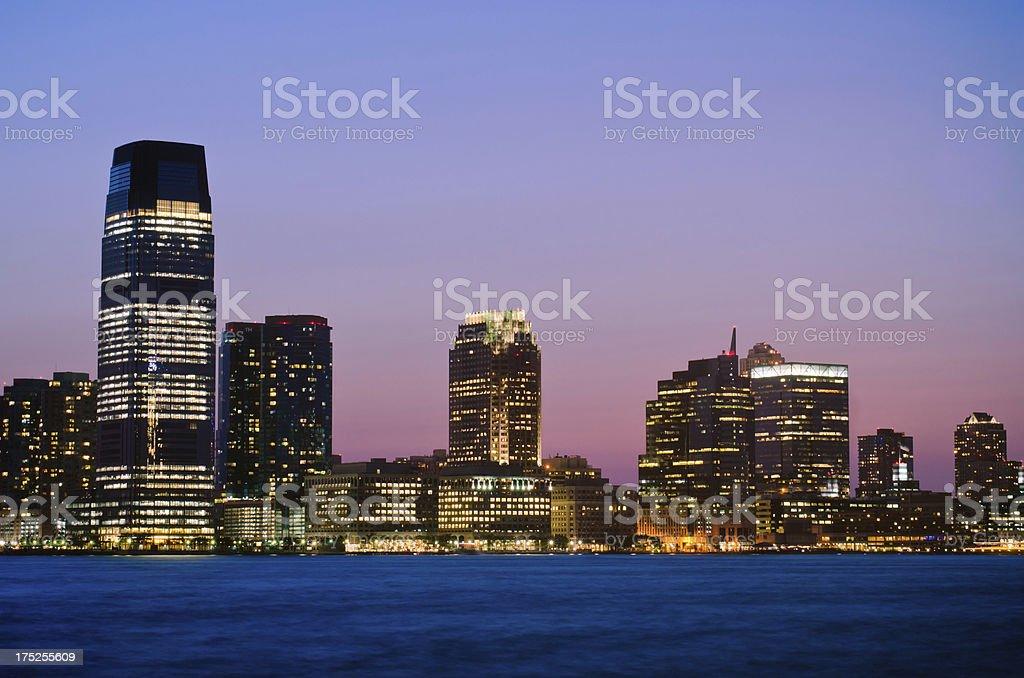 Jersey City skyline at night royalty-free stock photo