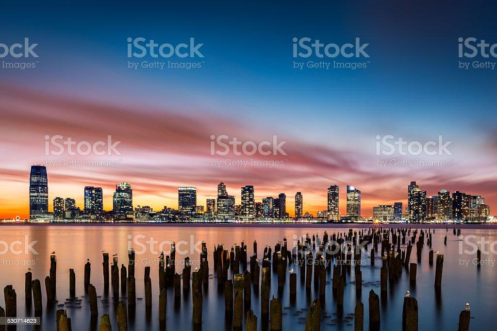 Jersey City skyline at sunset stock photo