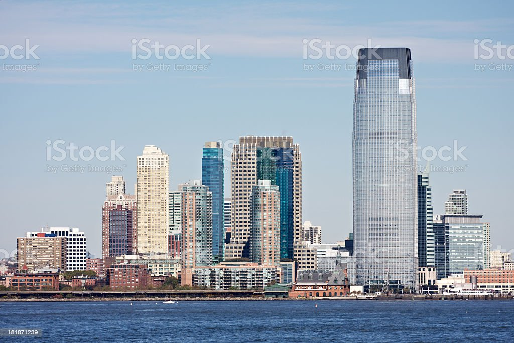 Jersey City skyline with ocean stock photo
