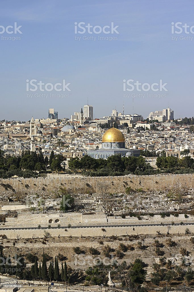Jersulem Cityscape and Dome of the rock royalty-free stock photo