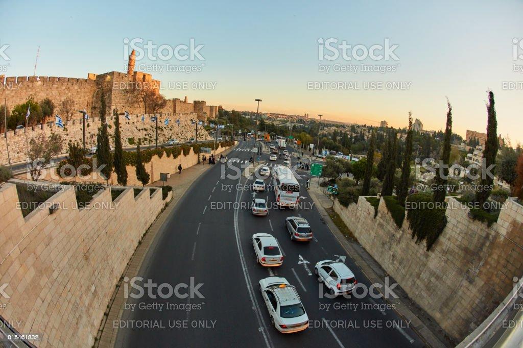 Jerusalem - 04.04.2017: A traffic jam near old city in Jerusalem stock photo