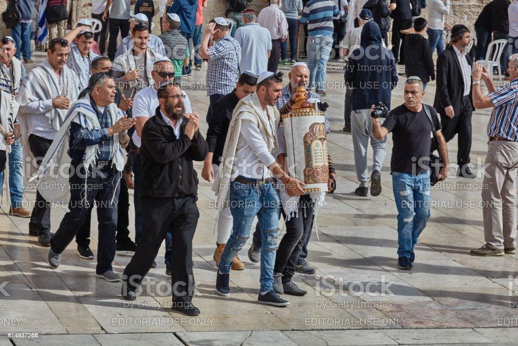 Jerusalem - 15 November, 2016: Many people participate Bar Mitzva celebration at old Jerusalem stock photo