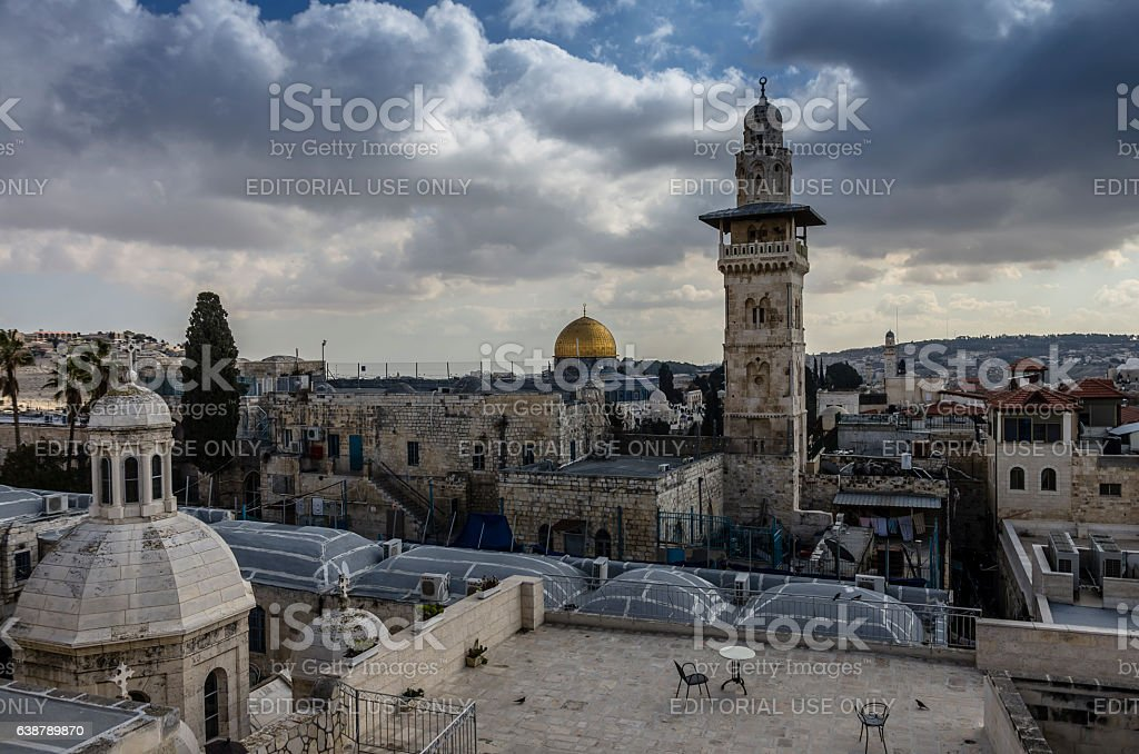 Jerusalem and Dome of the Rock winter clouds stock photo