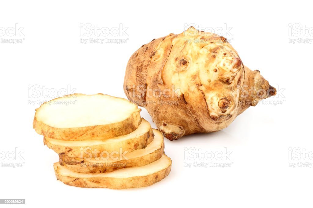 Jerusalem artichoke isolated. stock photo