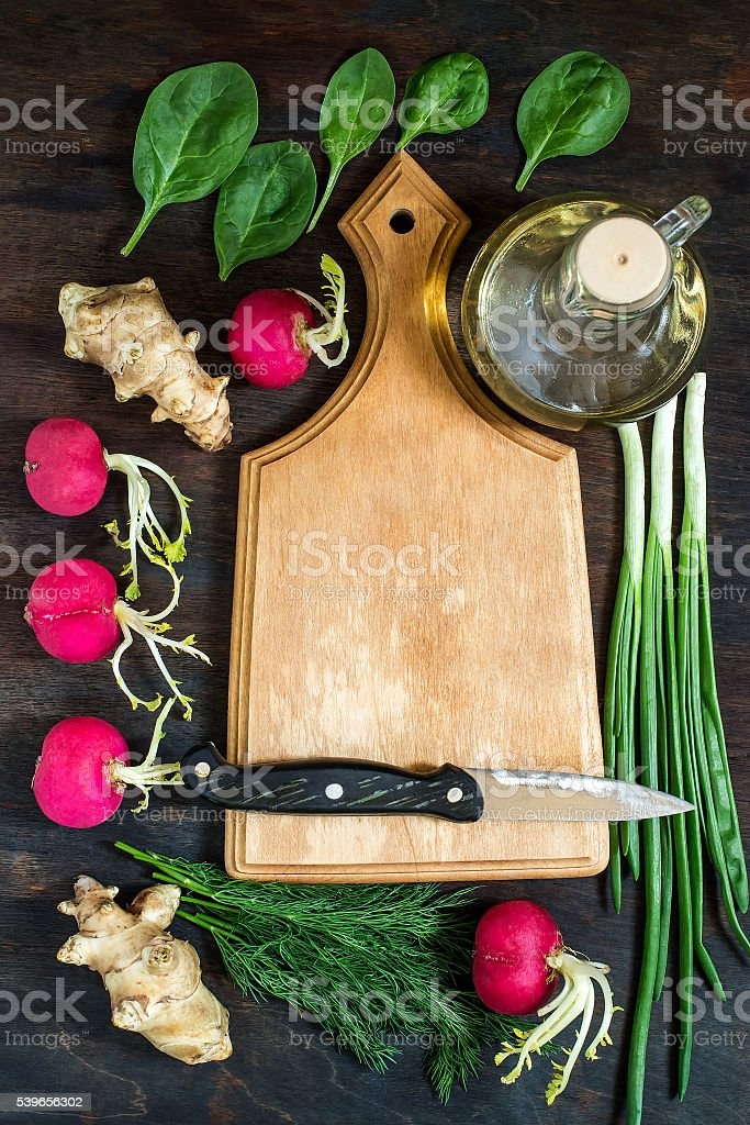 Jerusalem artichokes, radishes, green onions, spinach, dill for stock photo