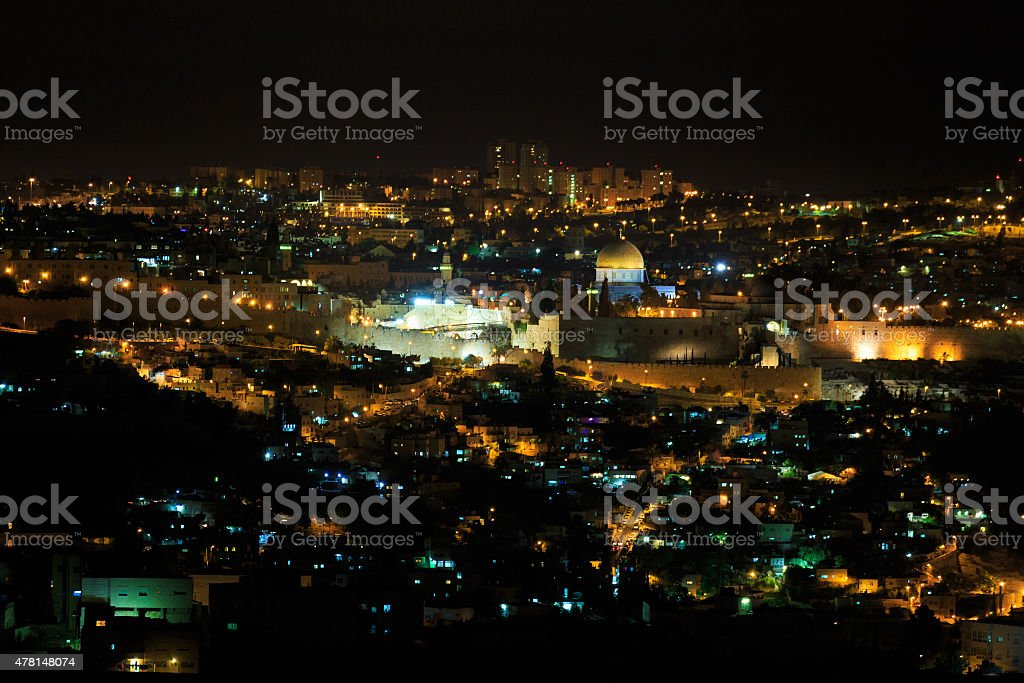 Jerusalem at night stock photo