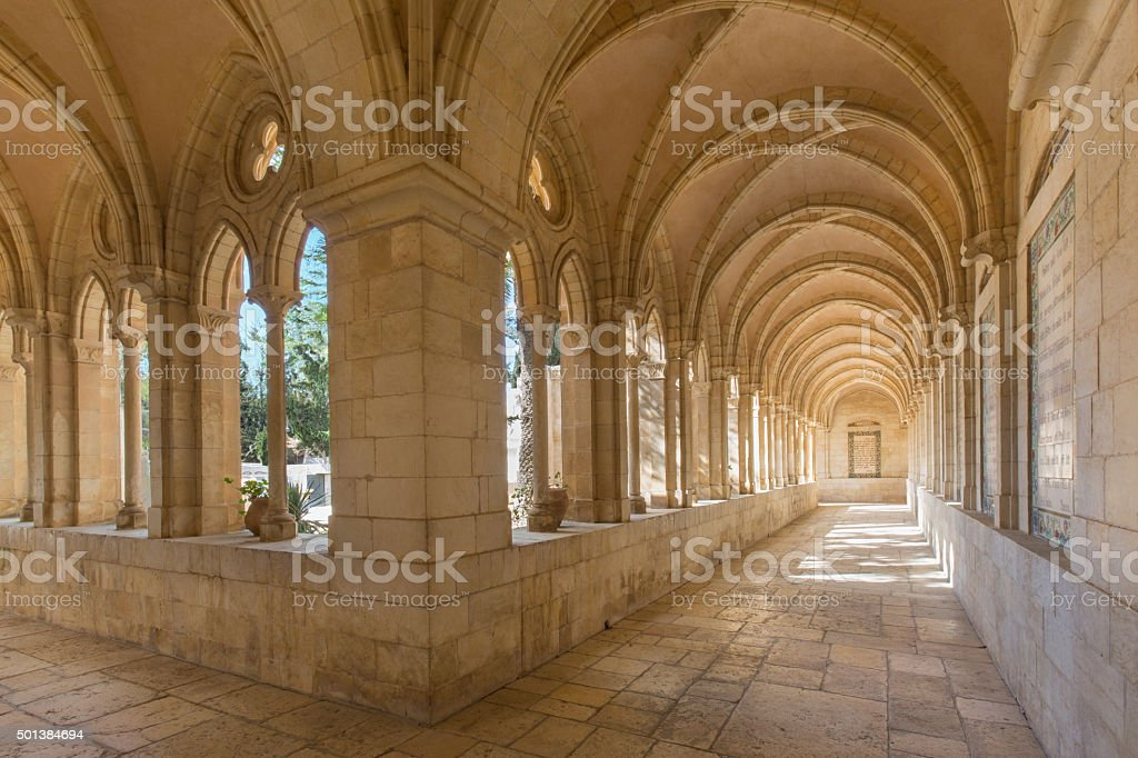 Jerusalem - atrium in Church of the Pater Noster stock photo