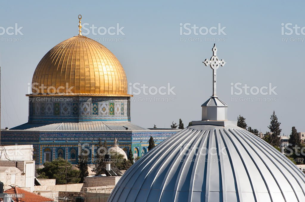 Jerusalem church and Dome of the Rock stock photo