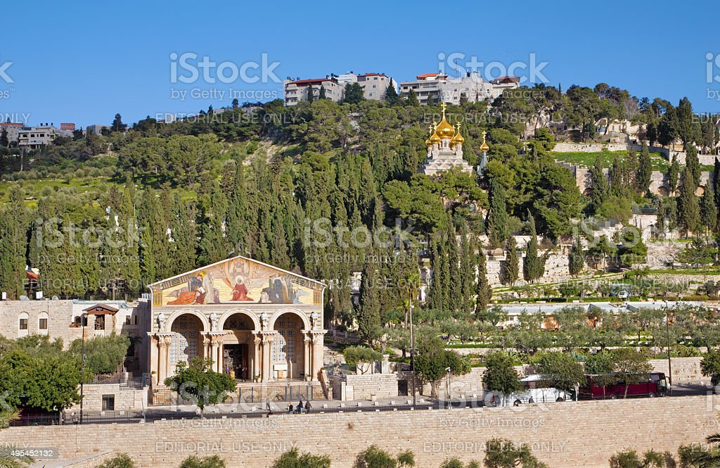 Jerusalem - Church of All Nations and Mount Olives stock photo