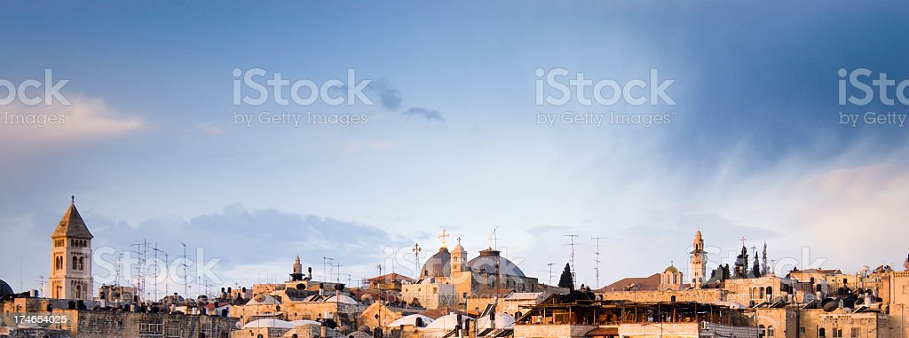 Jerusalem Churches and Minaret stock photo