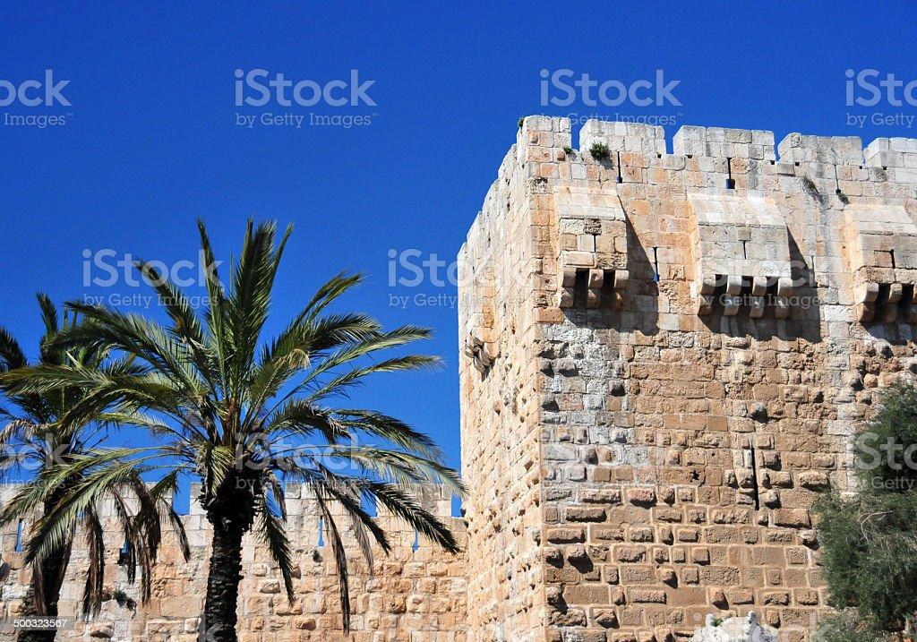 Jerusalem: city walls - UNESCO world heritage stock photo