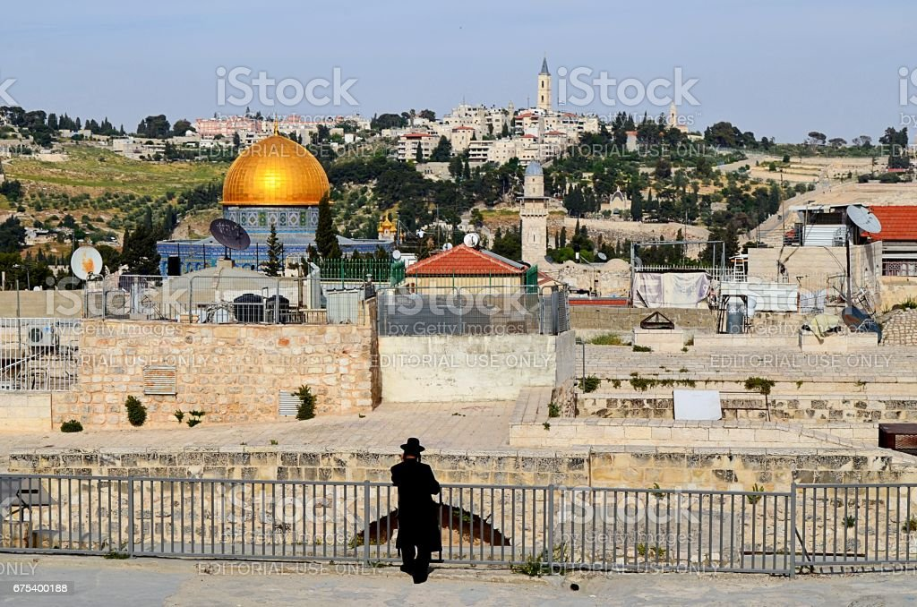 Jerusalem cityscape - Orthodox Jew, Dome of the Rock, Temple Mount stock photo