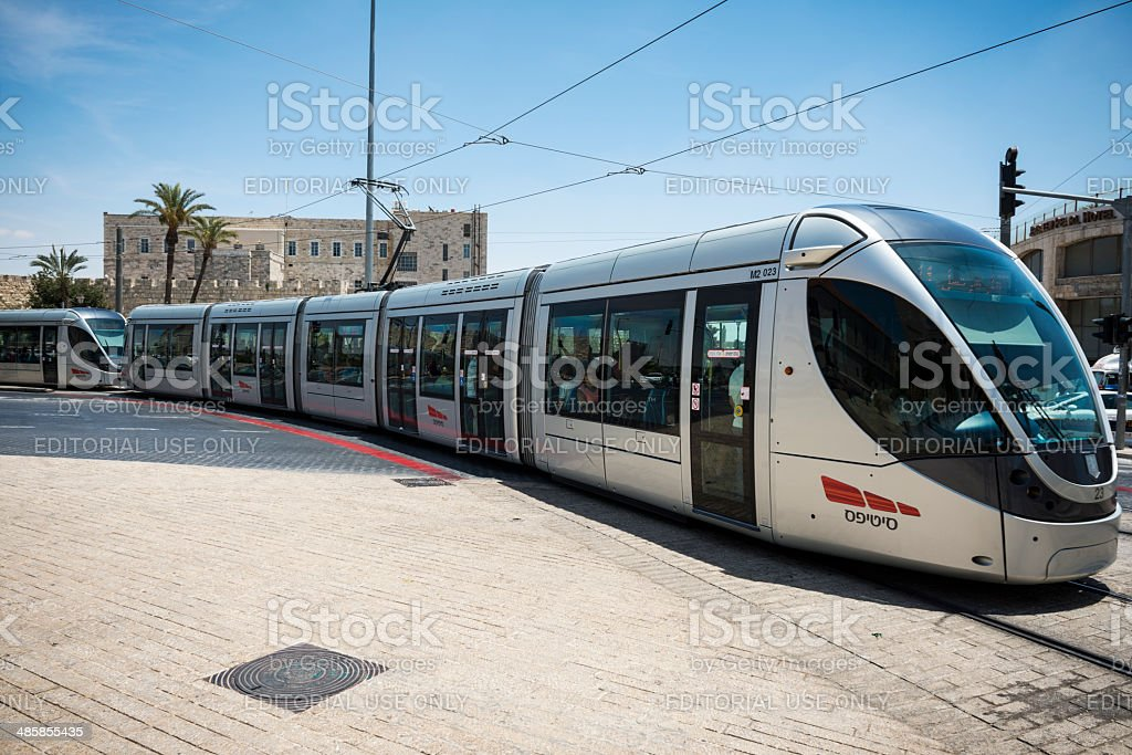 Jerusalem commuter train stock photo