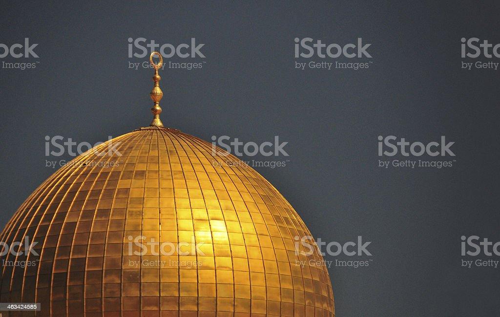 Jerusalem: Dome of the Rock against dark sky stock photo
