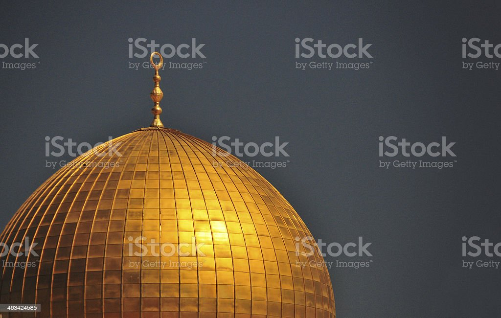Jerusalem: Dome of the Rock against dark sky stock photo