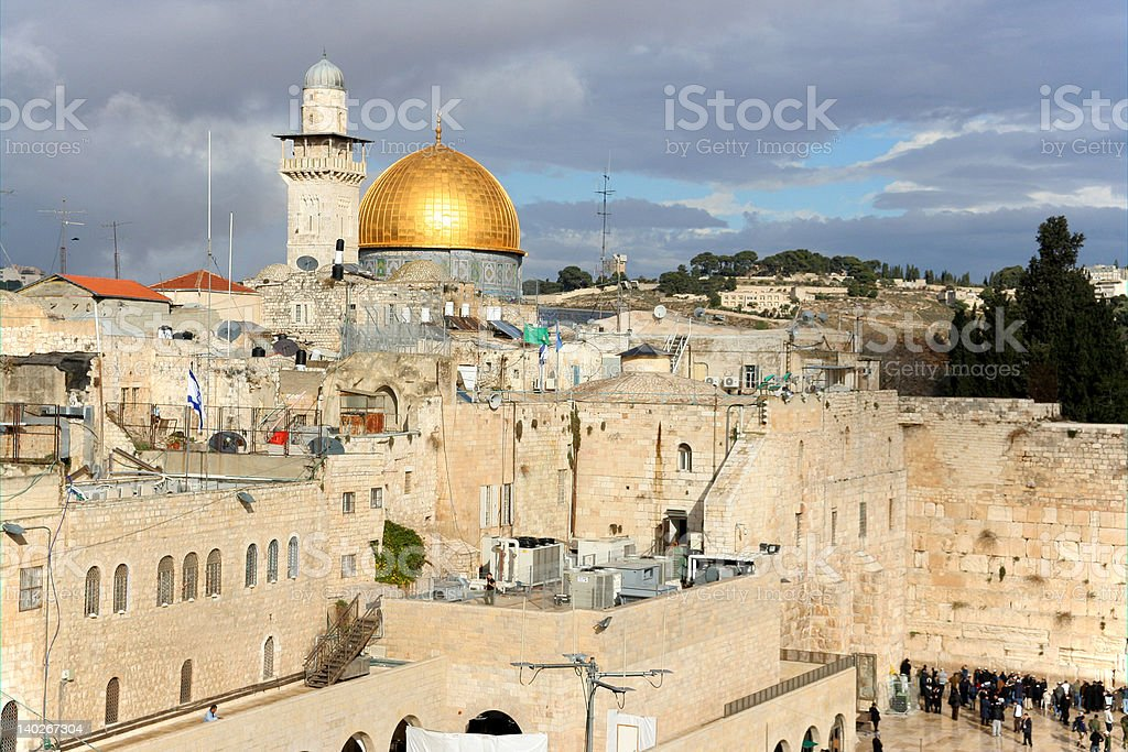 Jerusalem, Dome of the Rock and Western Wall royalty-free stock photo