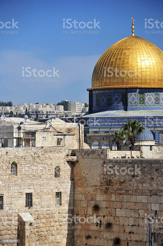 Jerusalem - Dome of the Rock and Western Wall stock photo