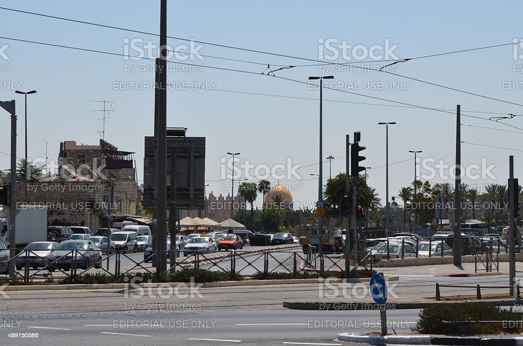 Jerusalem: Empty Street, Dome of the Rock stock photo