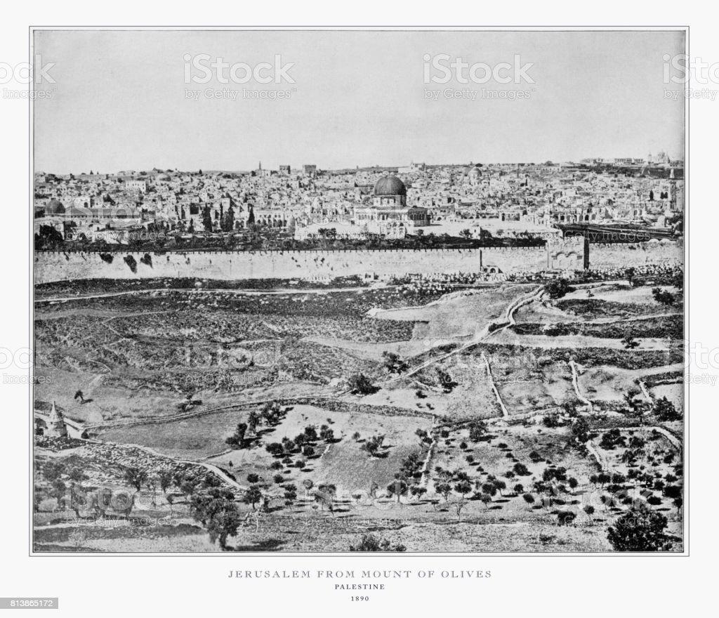 Jerusalem From Mount of Olives, Palestine, Antique Palestine Photograph, 1893 stock photo