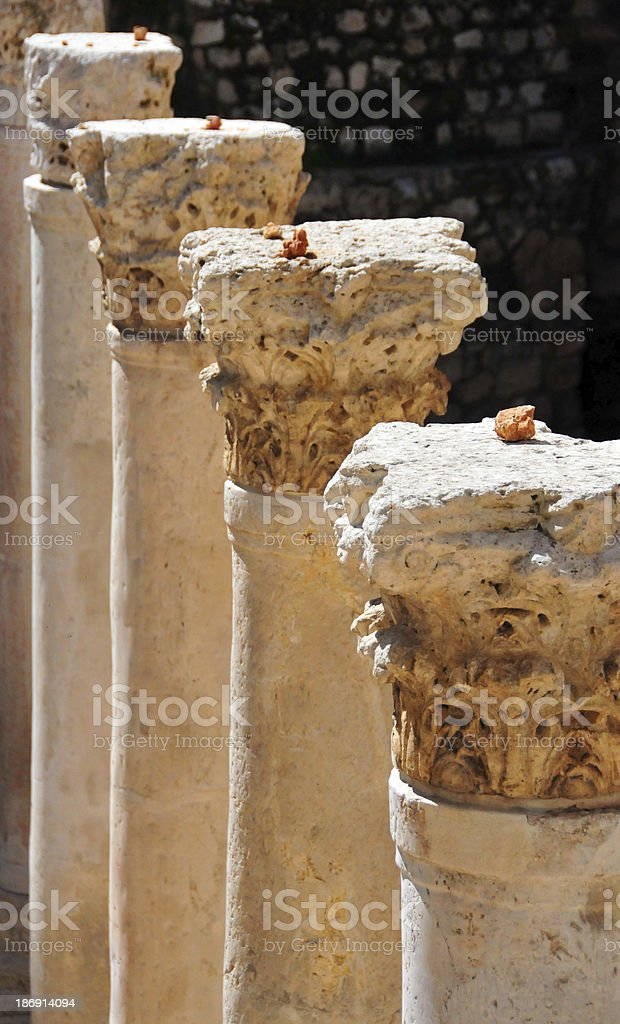 Jerusalem, Israel: Byzantine Cardo, columns with Corinthian order capitals stock photo