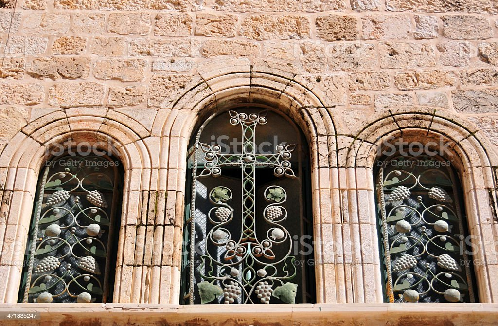 Jerusalem, Israel: Holy Sepulcher church, triple window stock photo