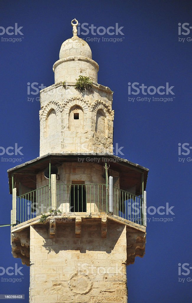 Jerusalem, Israel: Mosque of Omar minaret stock photo