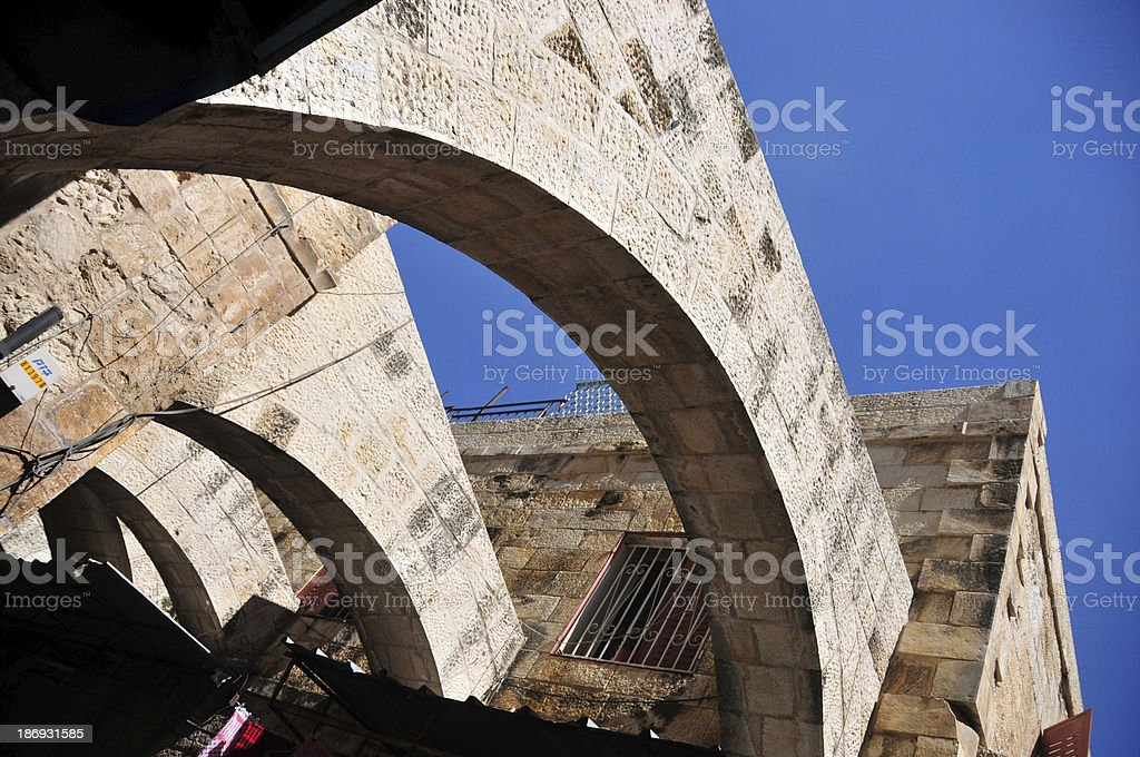 Jerusalem, Israel: stone arches on El Wad Ha Gai street royalty-free stock photo