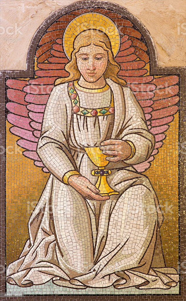 Jerusalem - mosaic of angel with the cup stock photo
