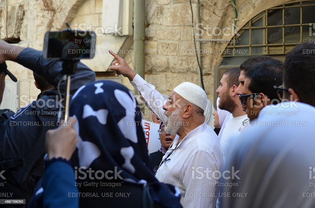 Jerusalem: Muslim activists demonstrate against non-Muslims stock photo