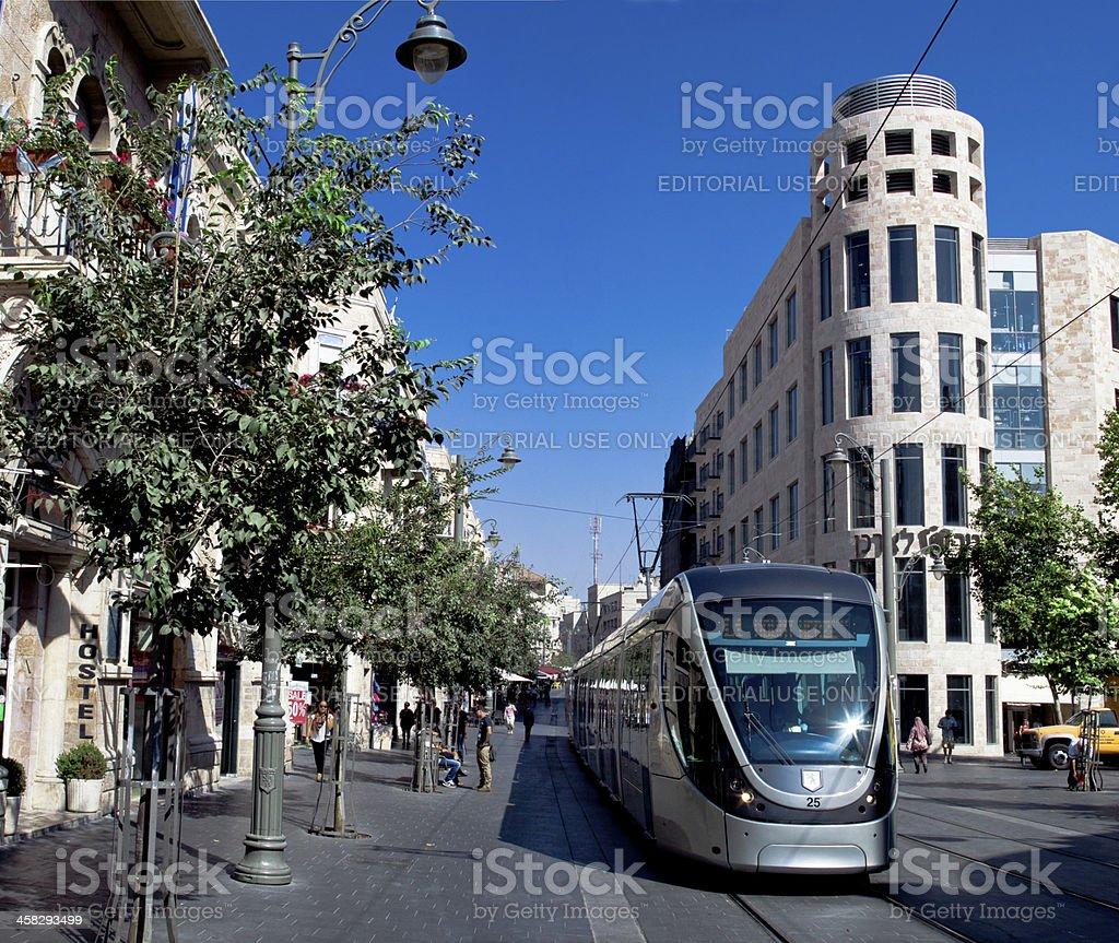 Jerusalem new Tram stock photo