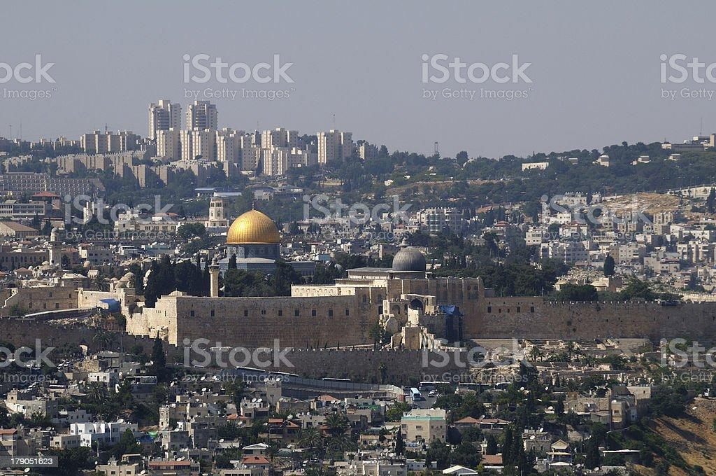 Jerusalem old and new city stock photo