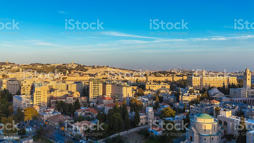 Jerusalem Old City and Temple Mount stock photo