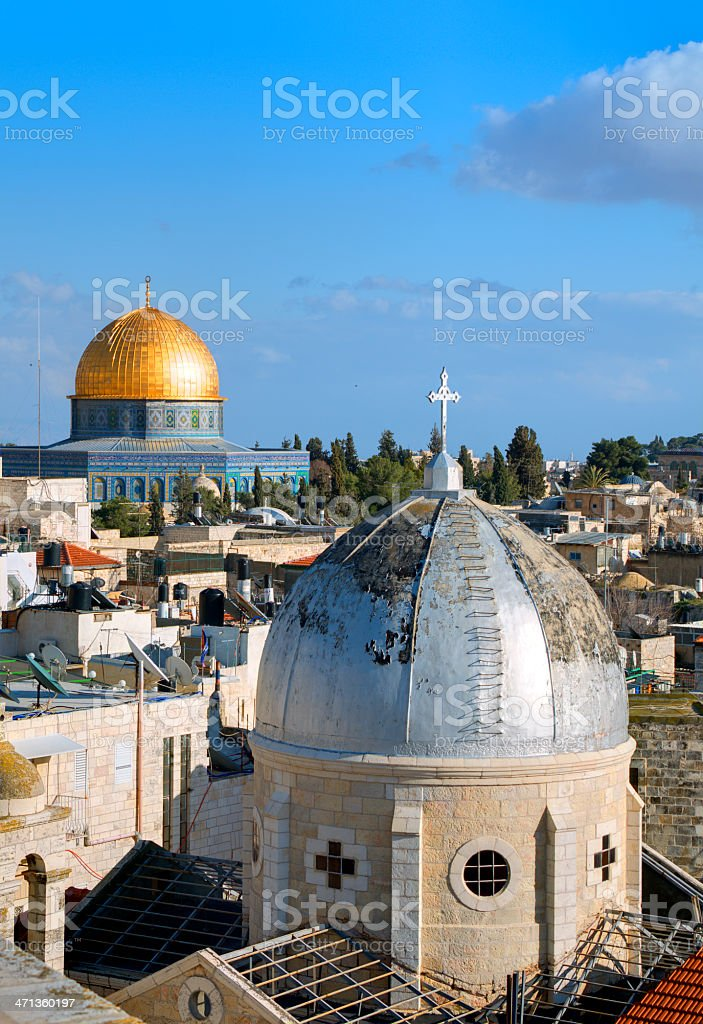 Jerusalem Old City as seen from a high ground stock photo