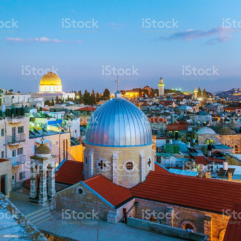 Jerusalem Old City at Night, Israel stock photo