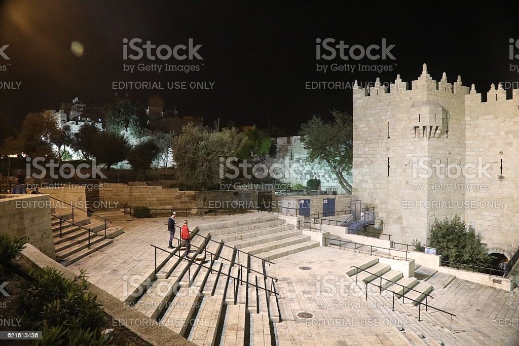 Jerusalem old city Damascus Gate aerial view at night stock photo